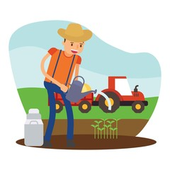 cute farmers are watering seed sprout cartoon character