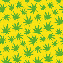 Seamless pattern of marijuana leaves