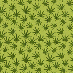 Seamless pattern of cannabis leaves