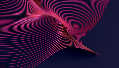 Abstract 3d rendering of smooth surface with lines. Striped modern background design for poster, cover, branding, banner, placard