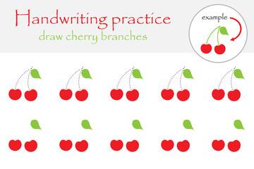 Draw cherry branches, handwriting practice sheet for children, kids preschool activity, educational children game, printable worksheet, writing training, vector illustration
