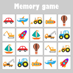 Memory game with pictures (different transport) for children, fun education game for kids, preschool activity, task for the development of logical thinking, vector illustration