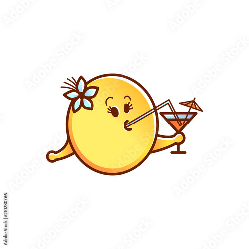 cute smiley face or emoticon in sketch style drinking cocktail with rh fotolia com Crying Smiley Face Clip Art Love Smiley Face Clip Art