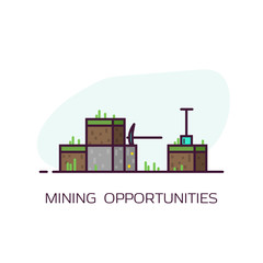 Mining concept banner. Blocks of dirt with grass and stone block with gold. Diamond pickaxe and shovel. Line style flat vector illustration. Game style mining banner.