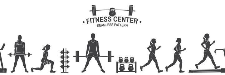 Fitness club seamless pattern or background. Vector illustration.