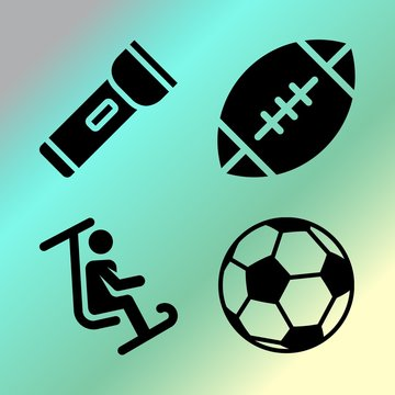 Vector icon set  about fitness and sport with 4 icons related to fast, gym, extreme, night and design