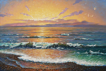 Artwork. Sunset at the sea. Author: Nikolay Sivenkov.