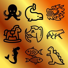 Vector icon set  about animals with 9 icons related to dangerous, healthy, fun, small and food