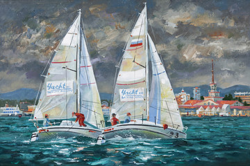 Oil painting on canvas. Elan-210 racing yachts in the Black Sea. Author: Nikolay Sivenkov.