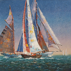 Oil painting on canvas.  Raised sails. Author: Nikolay Sivenkov.