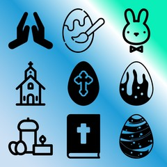Vector icon set  about easter with 9 icons related to hope, eggs, fun, birthday and isolated