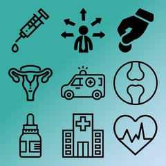 Vector icon set  about medicine with 9 icons related to ecg, cholesterol, study, x-ray and glass