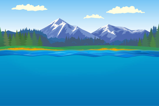 Beautiful horizontal landscape with forest and mountains on background and lake with underwater on foreground