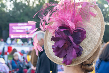 Fascinator Hat with Feathers and Flowers at a Royal Event in London Wall mural