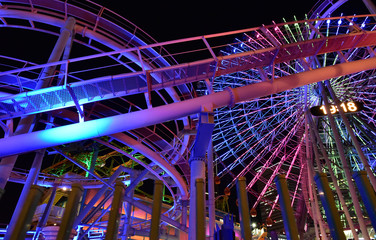 Night view of the park`s Ferris wheel and colorful illumination lights