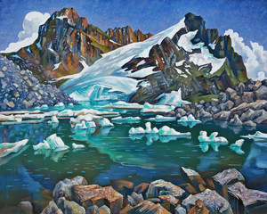 Teberda Reserve, mountain lake. An oil painting on canvas. Author: Nikolay Sivenkov.