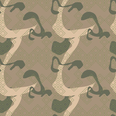Military camouflage seamless pattern in green, beige and brown colors