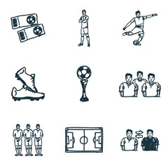 Football icons set. Player icon, cup icon, boots icon, Football Field icon and more. Premium quality symbol collection. Succer icon set simple elements.