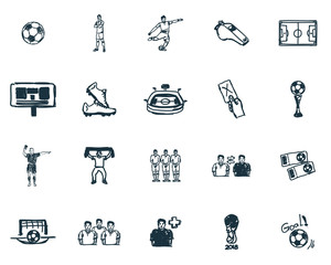Football icons set. Premium quality symbol collection. Succer icon set simple elements.