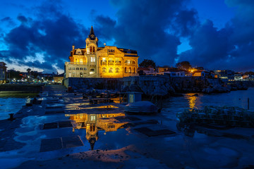 Cascais with Navy building at dusk with lights