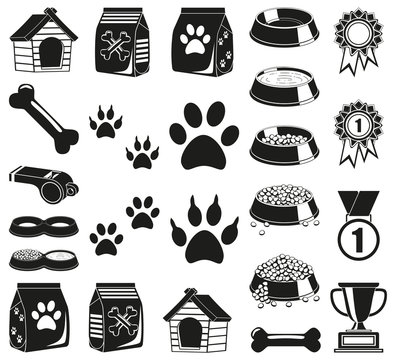 24 black and white pet care elements silhouette set