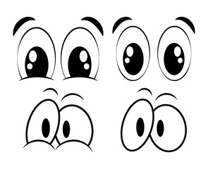 cartoon eyes set for comic book vector design isolated on white