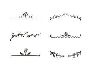 Vector Set of Floral Design Elements, Freehand Drawings Isolated on White Background.