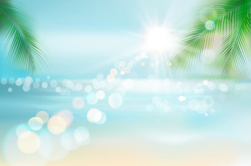 View of a tropical beach. Vector Illustration.