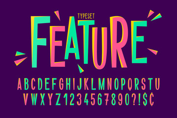 Trendy comical condensed font design, colorful alphabet