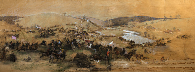 battle picture, landscape, oil painting