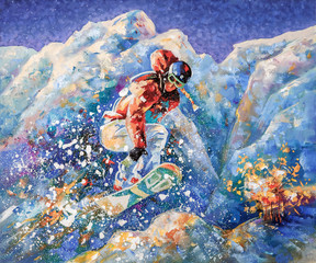 Girl snowboarder conquers the mountain peaks of the Caucasus. Painting: oil, canvas. Decorative and textured techniques on canvas. Author: Nikolay Sivenkov.