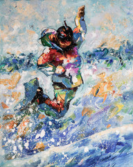 Snowboarder in a spectacular jump. Painting: oil, canvas. Decorative and textured techniques on canvas. Author: Nikolay Sivenkov.