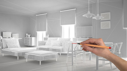 Hand drawing abstract architecture interior design project, modern living room, wireframe highpoly mesh construction, white background