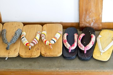 Japanese sandal of wood or shoes called Geta, Traditional Japanese footwear.