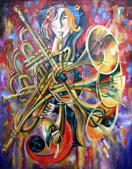 An oil  painting on canvas. Music, the girl plays musical wind instruments. Artistic work in bright and juicy tones.