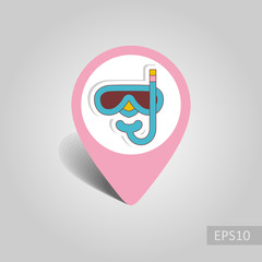 Diving Mask pin map icon. Summer. Vacation