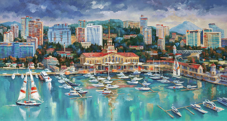 An oil painting on canvas. Panorama of Sochi. Architectural landscape of the beloved city. Author: Nikolay Sivenkov.