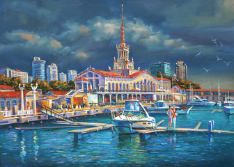 A berth in seaport of Sochi. An oil painting on canvas. Architectural landscape of the beloved city. Author: Nikolay Sivenkov.