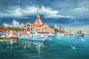 Calm in seaport Sochi. Painting: canvas, oil. Author: Nikolay Sivenkov.