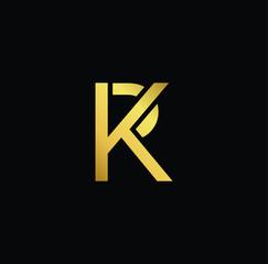 Initial Gold letter KP PK Logo Design with black Background Vector Illustration Template.