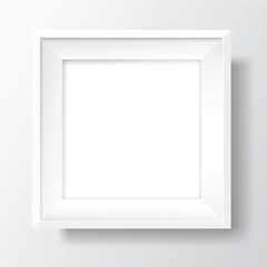 Square Blank white frame on white wall. Vector template