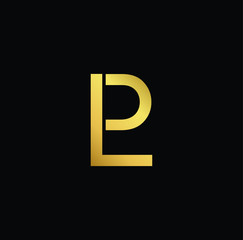 Initial Gold letter LP PL Logo Design with black Background Vector Illustration Template.