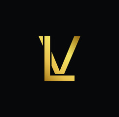 Initial Gold letter LV VL Logo Design with black Background Vector Illustration Template.