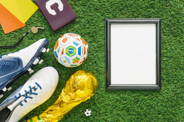 Football composition with frame