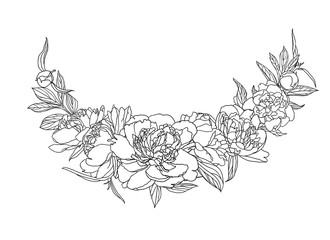 Vector linear black and white peony flowers