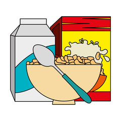 cereal box with milk and dish vector illustration design