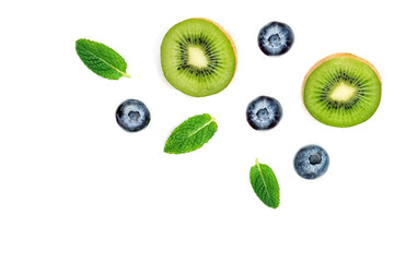 Blueberries  with leaves  isolated on white background, top view Creative ornament with berry fruits, tip view.