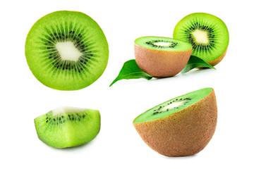 Kiwi Fruit isolated on the white background, close up. Set of Ripe fresh Kiwi fruits