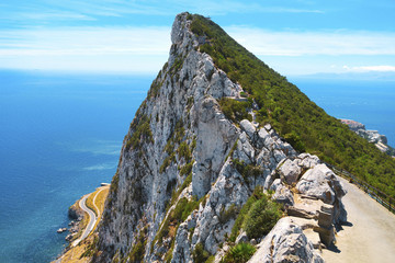 The Rock of Gibraltar in summer.