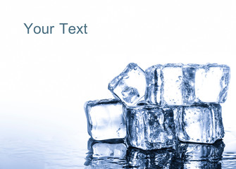 Ice cubes group on white background with clipping path
